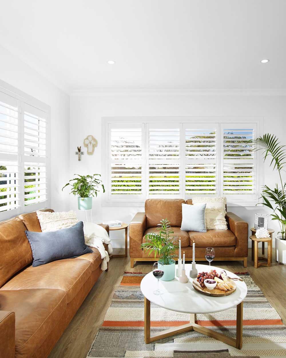 White Plantation Shutter Loungeroom