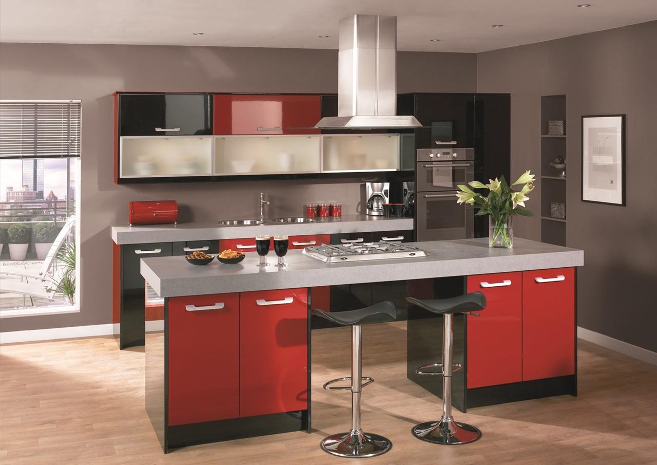 Red Premier Gloss Kitchen