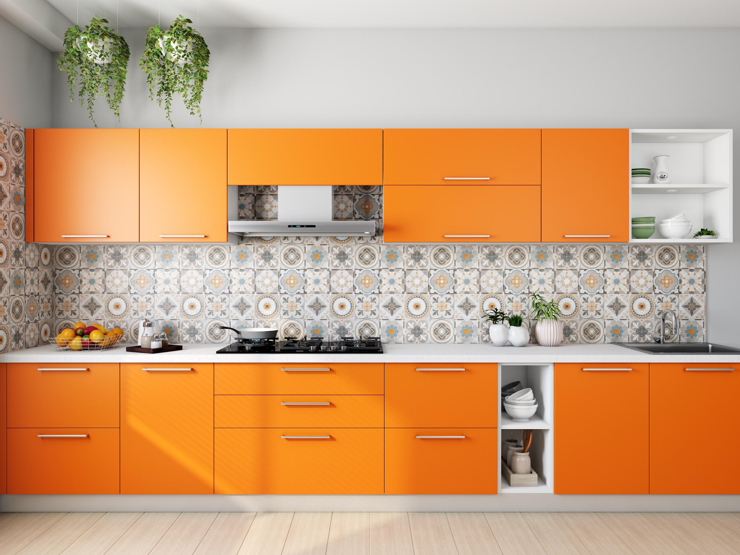 Warm Orange Colored Kitchen Schemes