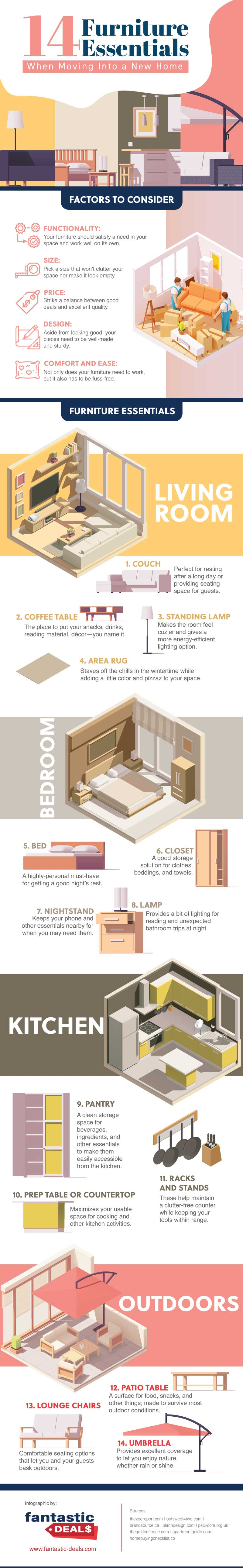 14 Furniture Essentials When Moving Into A New Home Infographic