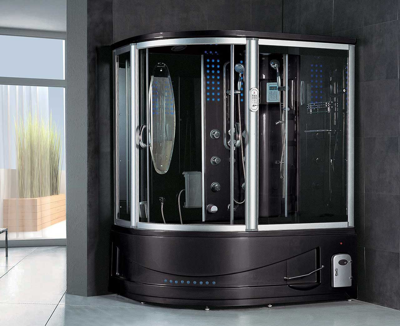 Siena Computerized Steam Shower Sauna with Jetted jacuzzi Whirlpool Massage Bathtub Spa