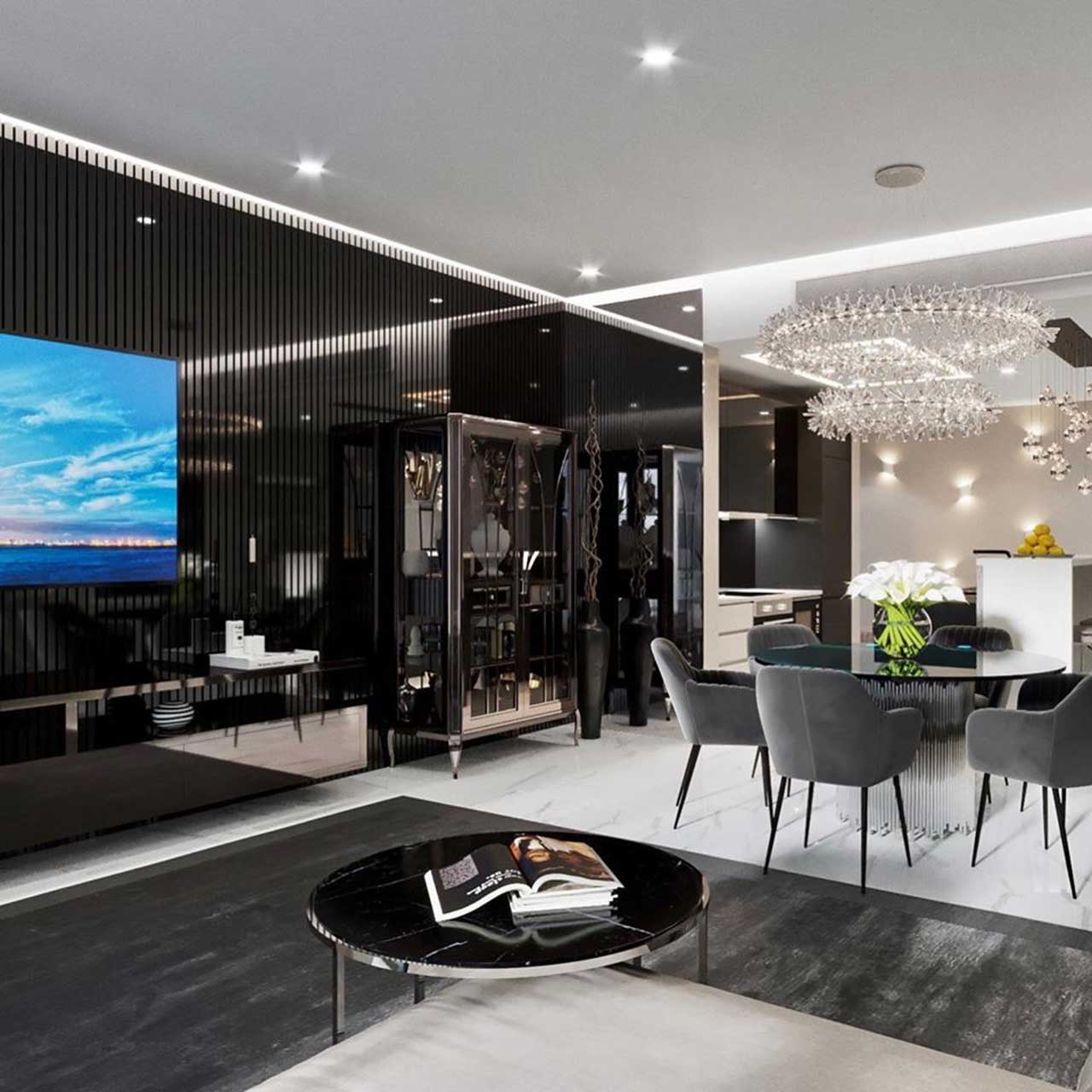 Black And White Interior Theme For Modern Apartments My Decorative