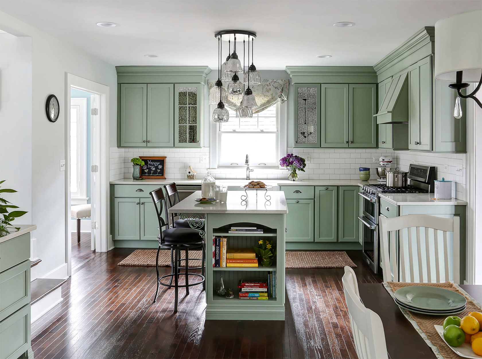 Cream And Olive Green Kitchen Color Scheme