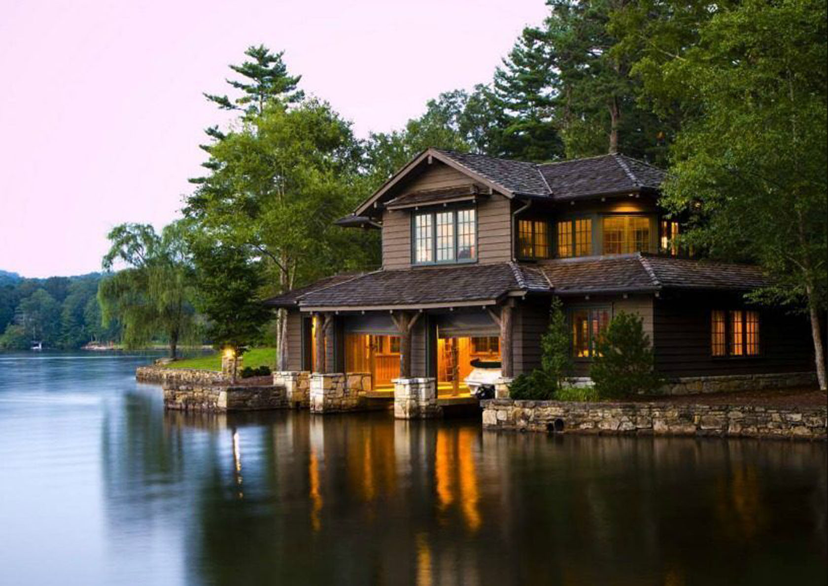 View Of A Lake Home