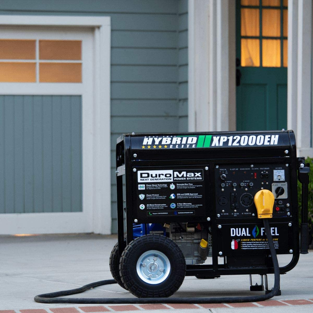 Blue and Black DuroMax XP12000EH 12000 Watt 18 HP Portable Dual Fuel Electric Start Generator