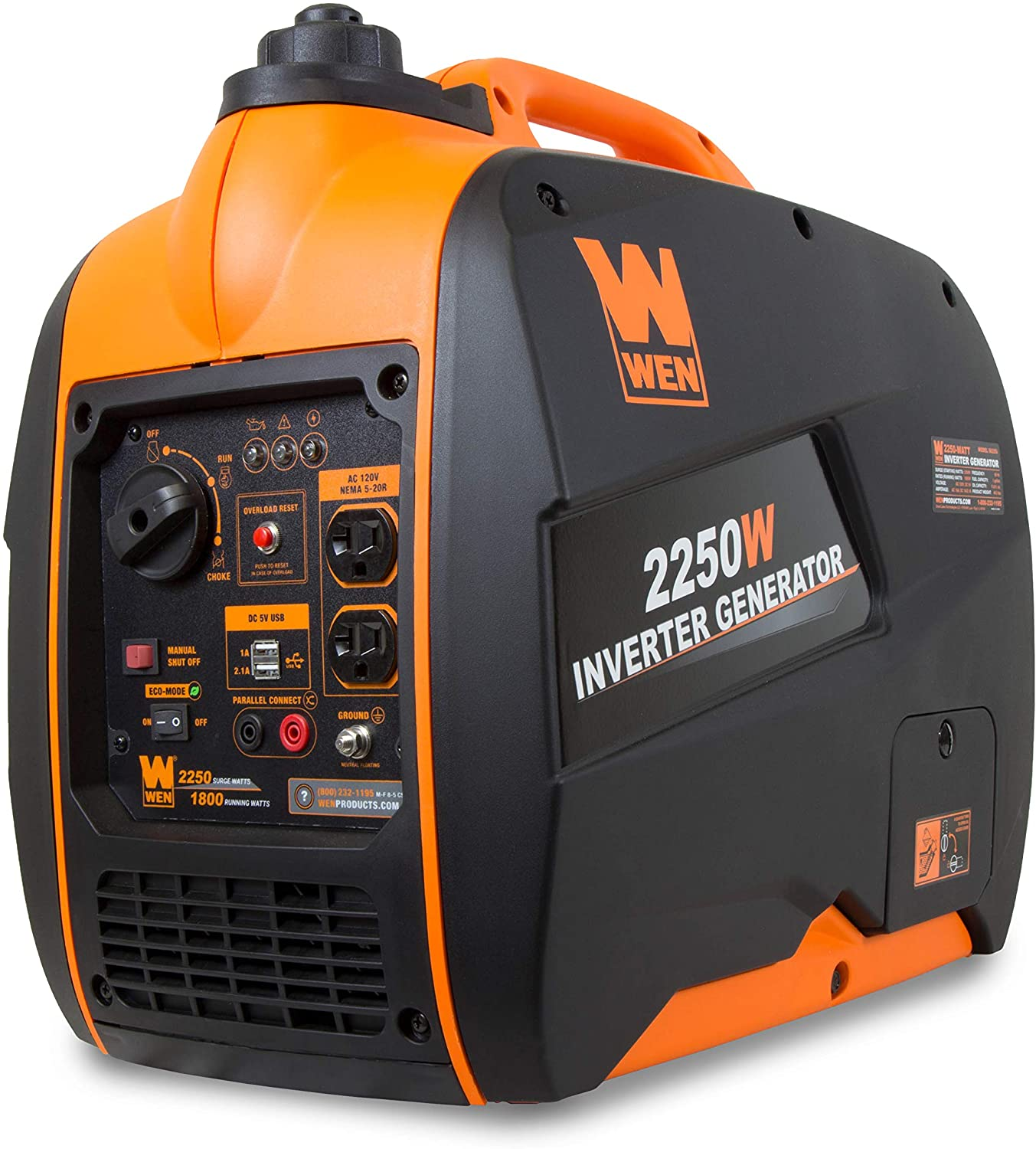 CARB Compliant WEN 56225i 2250 Watt Gas Powered Portable Inverter Generator with Fuel Shut Off