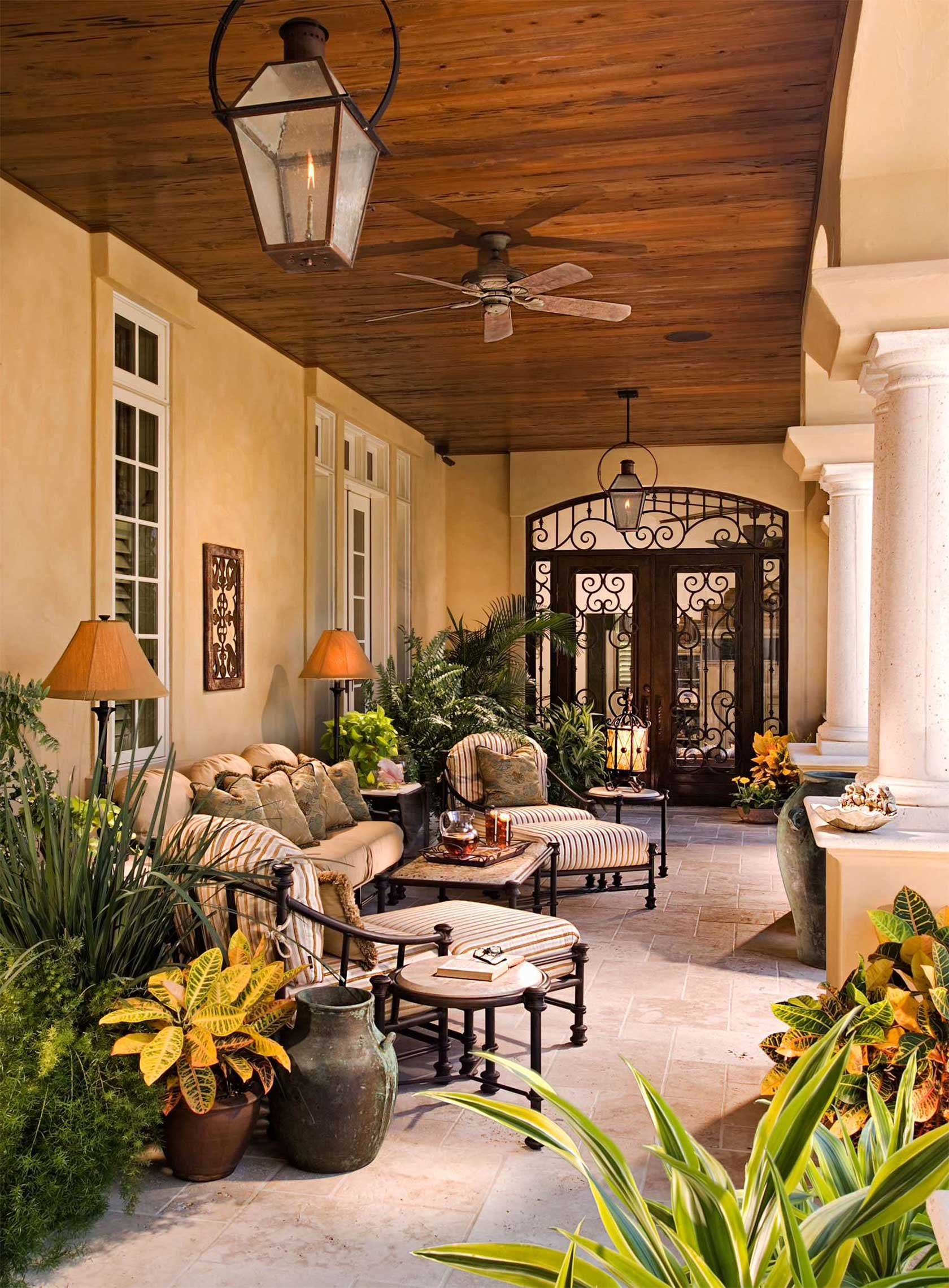 Classically Decorated Space With Plants And Flowers