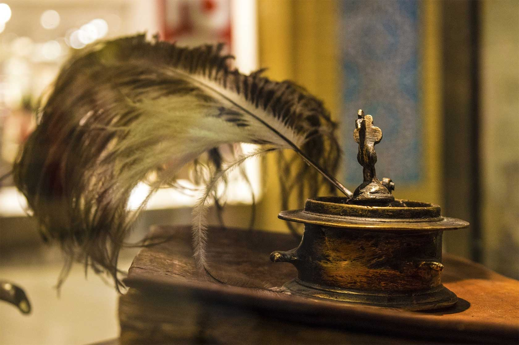 Old-Style Inkpot And Quill
