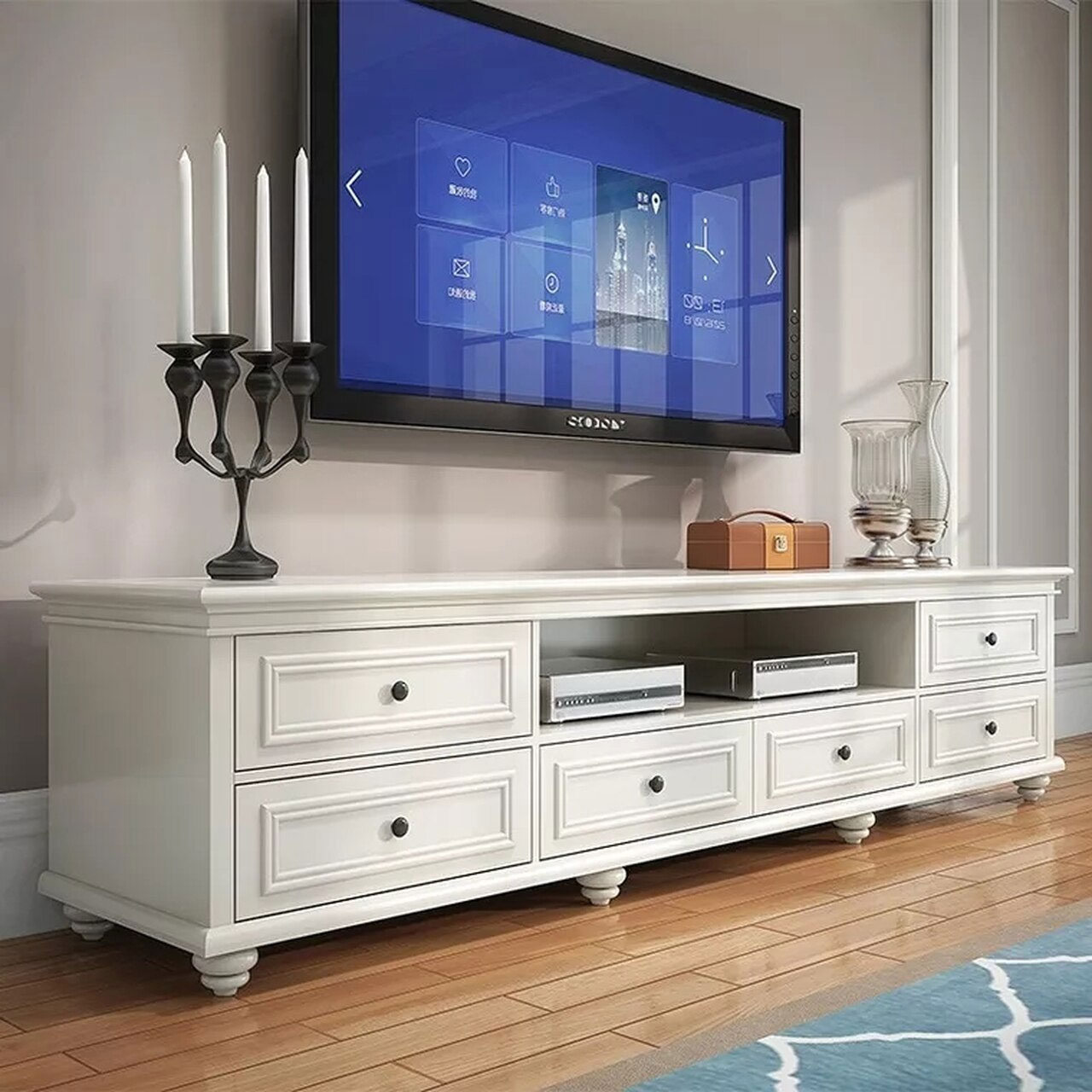 Beata 2M American Country Style White TV Stand
