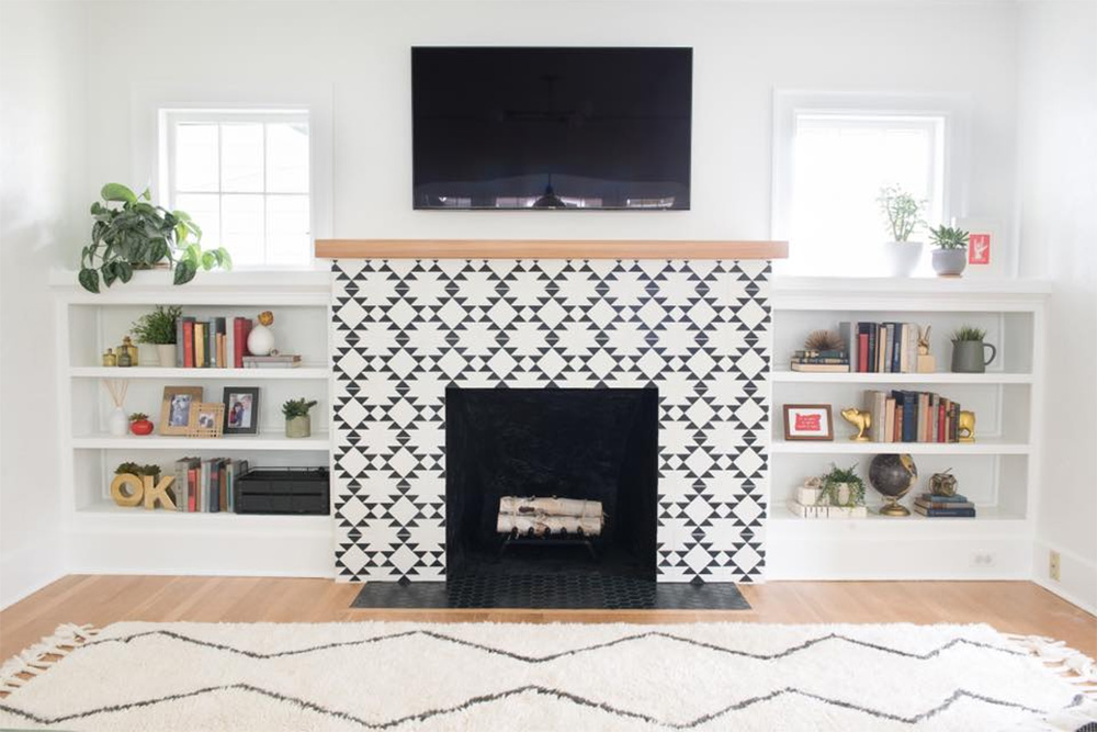 Black And White Fireplace Tiles