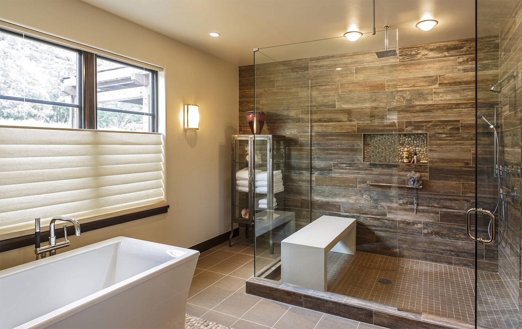 Beautiful Rustic Brown Tile Bathroom