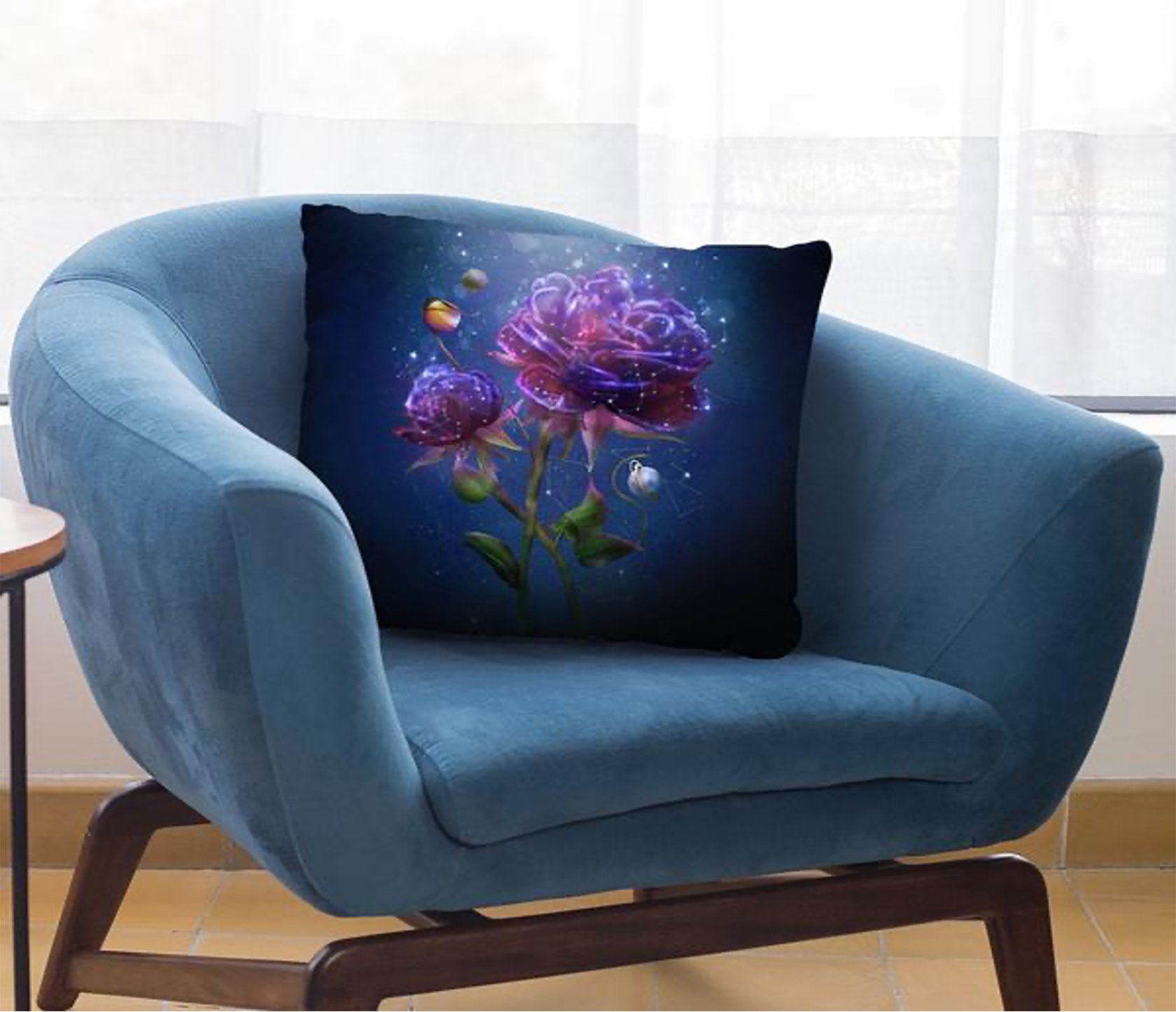Cosmic Flower Outdoor Throw Pillow