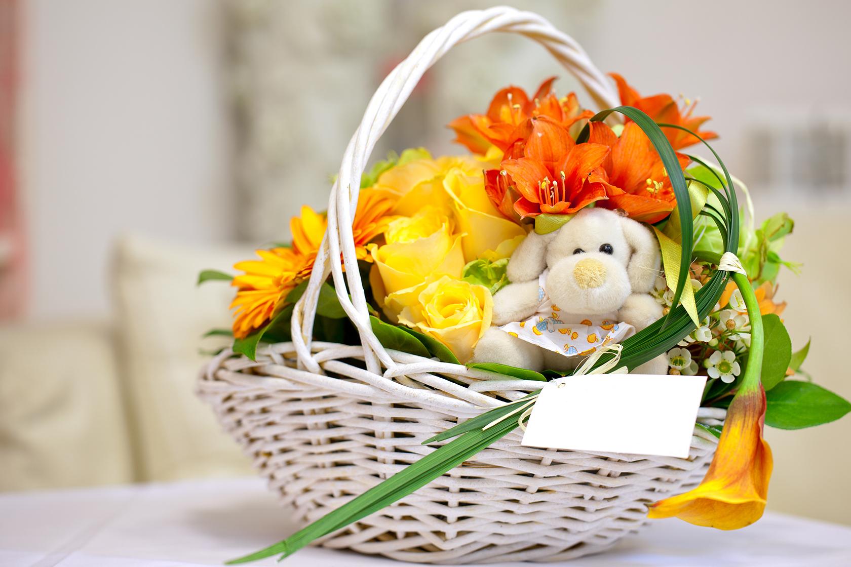 Wooden Handled Flower Basket